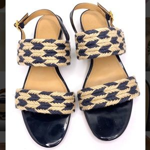 Tory Burch Navy Lola Flat Sandals Great Condition
